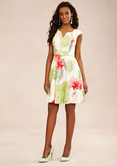 JAX Floral Belted A-Line Dress with Cap Sleeves