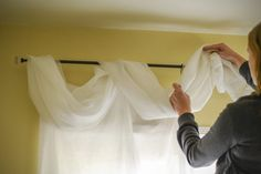 Sometimes referred to as scarf curtains or window toppers scarf valances are simply a type of curtain style in which the material is draped around the window rather than. Scarf Curtains, Window Scarf, Hanging Curtains, Sheer Curtains, Curtain Scarf Ideas, Picture Window Curtains, Curtain Valances, Curtain Styles, Curtain Designs