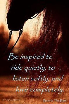 Inspired by horses, horse quotes. Be inspired to ride quietly, to listen softly and love completely.