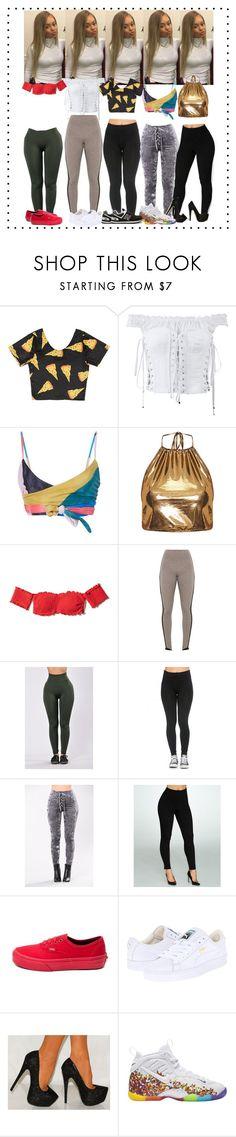 """#.✨🤘🏽"" by xmelaninprincessbarbiex ❤ liked on Polyvore featuring Dolce&Gabbana, Mara Hoffman, Hollister Co., Lyssé Leggings, Vans, Puma, NIKE and New Balance"