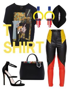 """""""Fave T"""" by jasminsangalyan on Polyvore featuring Raf Simons, Fendi, Toolally and MyFaveTshirt"""