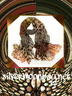 Gorgeous flowing animal print scarf. Unique statement piece. Add to your collection today at www.silvermoonbay.com #spring #scarf #animalprint #leopard #fashion #trendy #accessories
