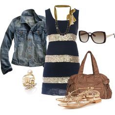 Blue/gold glitz outfit