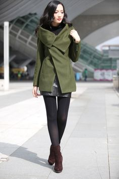 Army Green High Collar Jacket Winter Wool Women by Sophiaclothing, $169.99