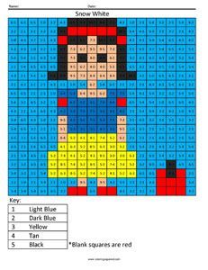 Disney Princess- Addition and Subtraction Snow White Math Coloring Pages