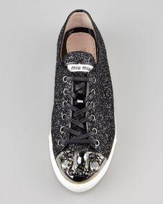 Miu Miu Bejeweled Glitter Sneaker - Neiman Marcus