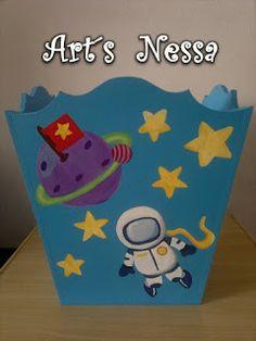 Art's Nêssa - Artesanato: Lixeira - Kit bebê Espacial