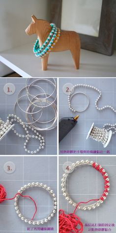 plain bracelet, wrap bead chain around fix with ribbon in colors