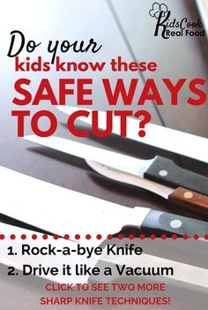 Does the idea of letting your kids use knives make you squeamish? Let a trained teacher bring knife skills and safety to your children in the comfort of your own home.   For two weeks only, you can get 3 free classes from the Kids Cook Real Food eCourse. Watch one with your kids like a regular class and polish your own skills with the other two (they're just for adults).