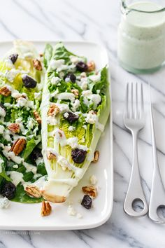 Dress up a boring wedge salad with romaine lettuce and a greek yogurt and Buttermilk Black Pepper Dressing