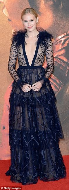 Striking: Danika Yarosh, 18, wowed in a tiered lace number...