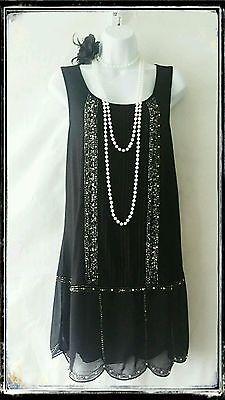 NEXT vintage années 20 noir deco charleston gatsby sequin clapet robe tunique 12 40