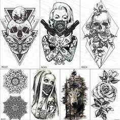 OMMGO Rhombus Triangle Skull Nun Temporary Tattoo Sticker For Men Women Arm Leg Tatoo Paper Waterproof Body Art Black Tattoos - Ziloqa - - Verse Tattoos, Fake Tattoos, Skull Tattoos, Temporary Tattoos, Black Tattoos, Body Art Tattoos, Tatoos, Sleeve Tattoos, Tattoo Calf