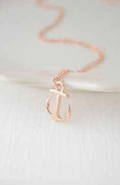 Anchors Away Rose Gold Necklace ♡ #love #nautical