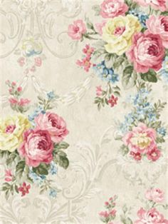 Pink, Blue, and Yellow Floraison Floral Damask Wallpaper, SBK24842