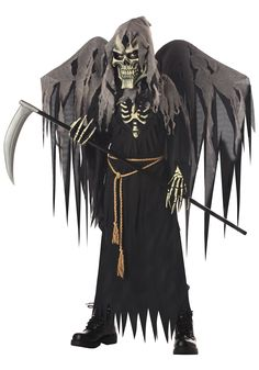 kids winged grim reaper costume classic scary costumes for - Halloween Scary Costumes For Boys