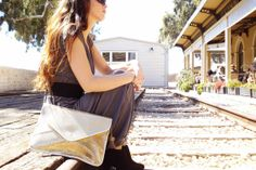 Leather Gold Envelope Clutch