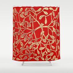 Christmas / Solstice Mistletoe Red Shower Curtain by Khana's Web - $68.00