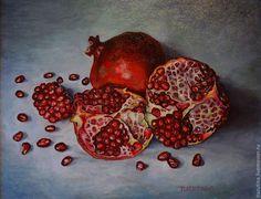 """Купить Картина """"Гранаты"""" - разноцветный, картина маслом, натюрморт, натюрморт с фруктами, натюрморт с гранатами, гранаты"""