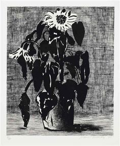 """Sunflower"" by David Hockney, 1995 (etching and aquatint)"
