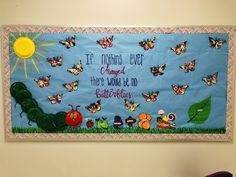 """Butterfly March bulletin board with """"The hungry caterpillar"""" theme Butterfly Bulletin Board, World Bulletin Board, Welcome Bulletin Boards, Preschool Boards, Preschool Activities, Toddler Classroom, Chalkboard Ideas, Spring Activities, Class Room"""