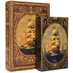 Take organization to a whole new level with this Faux Leather Boats Book Box Set! These fun book boxes feature faux leather finishes in shades of gold, cream, a