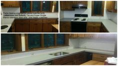 Quartz or engineered stone counter-tops and 3x6 Subway Tile complete this kitchen makeover by Granite Transformations/Minnesota.