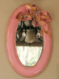 Shabby chic hanging Oval Mirror Set.  Perfect for by Kre8iveKrafts, $47.00