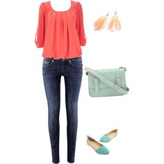 """""""mint and coral"""" by idmarryjenny on Polyvore"""