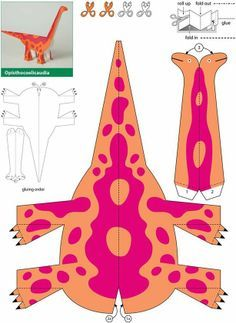 Dinosaurs: Kiragami for Kids: Easy to Make Paper Toy Source … - Easy Crafts for All Paper Dinosaur, Dinosaur Crafts, Dinosaur Origami, Dinosaur Activities, Craft Activities, Kirigami, Kids Crafts, Easy Crafts, Festa Jurassic Park