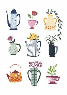 'Colourful Crockery' is now available to preorder as an print on my online shop! This print would look great hanging up in a kitchen… Tea Illustration, Pattern Illustration, Illustrations, Botanical Illustration, Buch Design, Posca Art, Arte Sketchbook, Guache, Art Inspo