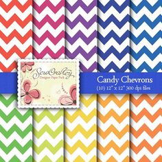 Candy Chevrons  Digital Paper Pack  Scrapbooking    by SewCraftey, $3.50