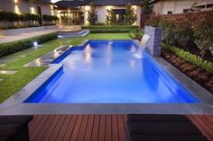 Good shape - minus the water feature. The Majestic Range a great Fibreglass swimming Pool. This is the benchmark for a rectangle pool shape and comes in a range of sizes. From Barrier Reef Pools Perth Swimming Pool Landscaping, Swimming Pool Designs, Landscaping Ideas, Pool Decks, Pool Pavers, Mulch Landscaping, Brick Pavers, Above Ground Swimming Pools, In Ground Pools