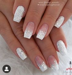 Gorgeous Nails, Pretty Nails, Perfect Nails, Nail Art Designs, Silver Nail Designs, Glitter Nail Designs, Square Nail Designs, Ombre Nail Designs, White Tip Nail Designs