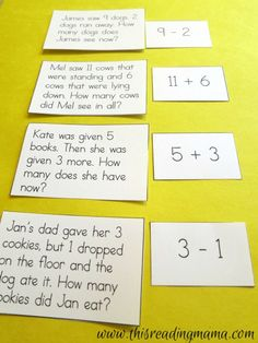 to Add and Subtract {FREE printable} Learning to Add and Subtract ~ with graphic organizers, number sentence matching, word problems, and math vocabulary sorting Math Story Problems, Word Problems, Math Words, Math Vocabulary Words, Math Addition, Adding And Subtracting, 1st Grade Math, Grade 1, Second Grade