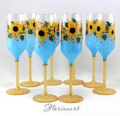 Sunflower wedding glasses Sunflower glasses Summer