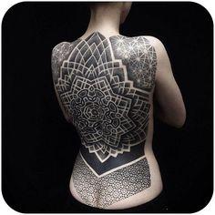 dotwork full back tattoo on girl