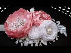 Satin Flowers, Fabric Flowers, Baby Hair Bands, Couture, Ribbon, Bouquet, Baby Shower, Bows, Hair Styles