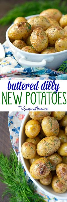 Just 5 minutes of prep time results in the perfect side dish -- crispy, tender Buttered Dilly New Potatoes that are lightly dressed in garlic, salt, and fresh herbs!
