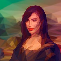 A serie of digital lowpoly portraits with contemporary celebrities in history of art pieces, including for now just Kim Kardashian as Mona Lisa