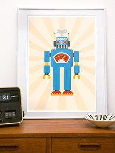 Nursery retro robot poster print