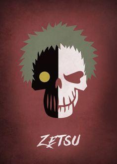 """Naruto Shippuden Character Skulls Zetsu #Akatsuki #Displate artwork by artist """"Mauricio Somoza""""."""