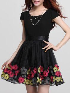 Black Organza Dress with Embroidery Floral Hem - Choies.com