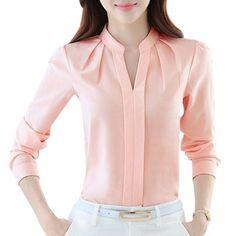 Kadın Bluzlar Uzun Kollu Şifon Bluz Gömlek Kadınlar 2017 Blusa Feminina Tops Moda Chemise Femme Gömlek Beyaz Pembe Mor