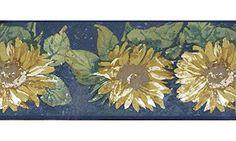 Amazing Deal On Navy Blue Sunflower Wallpaper Border
