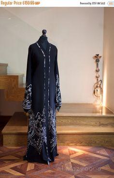 14 DAY PROMOTIONAL SALE Al Mazyoona Black Embroidered Bisht Abaya Dubai Arabic Jalabiya Khaleeji Kaftan Maxi by Almazyoona on Etsy https://www.etsy.com/listing/240139357/14-day-promotional-sale-al-mazyoona