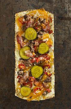 Photo of Thin Crust Hamburger Pizza