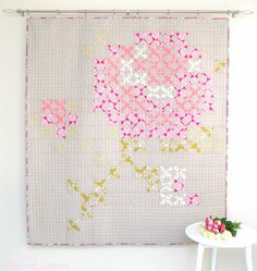 Tied with a Ribbon - rose cross stitch quilt