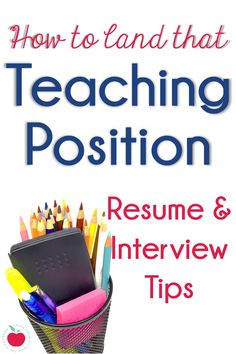 Create an exceptional teacher resume and cover letter, rock your interview, and land the teaching position of your dreams! These resume and interview tips will help you prepare and excel in your next… Elementary Teacher Resume, Teaching Resume, Student Teaching, Elementary Schools, Teaching Ideas, Teaching Strategies, Teaching Tools, Teaching Resources, Teaching Reading