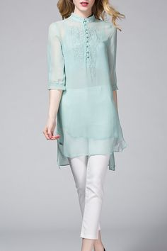 Light Blue Camisole And Embroidered Silk Blouse
